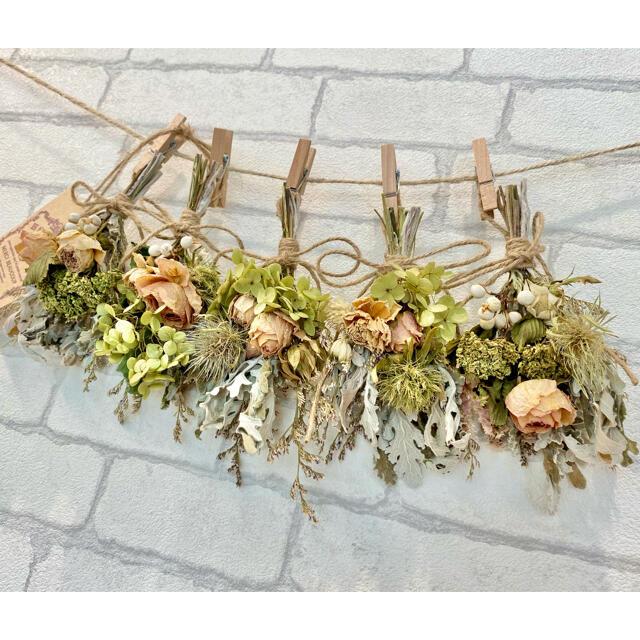 ドライフラワー スワッグ ガーランド❁306ナチュラル薔薇 アイボリー白 花束 ハンドメイドのフラワー/ガーデン(ドライフラワー)の商品写真