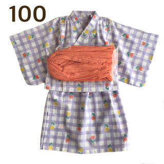 【100】チューリップ柄 チェック 浴衣ドレス 薄紫(甚平/浴衣)