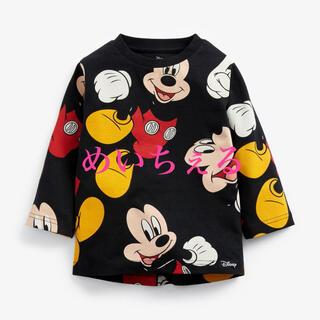 ディズニー(Disney)の【新品】ブラック Mickey Mouse 総柄Tシャツ(ボーイズ)(シャツ/カットソー)