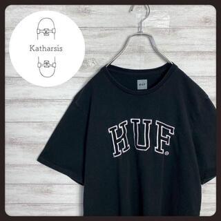 ハフ(HUF)の【USA製】HUF ハフ 刺繍デカロゴ ブラック ビックサイズ Tシャツ(Tシャツ/カットソー(半袖/袖なし))