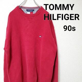 トミーヒルフィガー(TOMMY HILFIGER)の【美品】トミーヒルフィガー TOMMY HILFIGER コットンニット 赤 X(ニット/セーター)