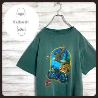 【USA製】90s ハーレーダビッドソン グリーン両面ロゴ ビックサイズTシャツ(Tシャツ/カットソー(半袖/袖なし))