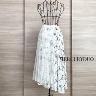 マーキュリーデュオ(MERCURYDUO)のMERCURYDUO マーキュリーデュオ フラワーブロッキングプリーツスカート(ひざ丈スカート)