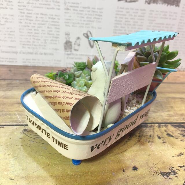 多肉植物の寄せ植え リメ缶くるくる蓋 (シロクマSHOP) ハンドメイドのフラワー/ガーデン(その他)の商品写真