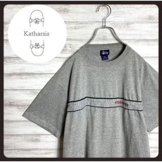 ステューシー(STUSSY)の【USA製】90s オールドステューシー 刺繍ロゴ グレー Tシャツ(Tシャツ/カットソー(半袖/袖なし))