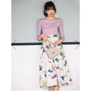 グレイル(GRL)のグレイル★花柄ホワイトスカート M(ひざ丈スカート)