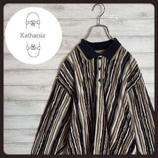 【入手困難】90s クージー風 3D 三つ編み ビックサイズ 長袖ポロシャツ(シャツ)