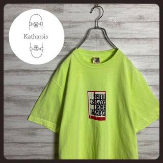 【入手困難】ブラックアイパッチ プリントボックスロゴ ネオンイエロー Tシャツ(Tシャツ/カットソー(半袖/袖なし))