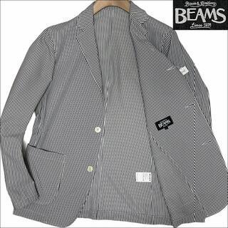 ビームス(BEAMS)のJ3048 美品 ビームス シアサッカー サマージャケット グレー×ホワイト L(テーラードジャケット)