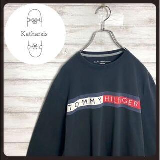 【入手困難】トミーヒルフィガー ブラック 刺繍 フラッグロゴ Tシャツ ロンT(Tシャツ/カットソー(七分/長袖))