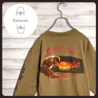 【メキシコ製】90sハーレーダビッドソン ブラウン両面ロゴ スリーブロゴ ロンT(Tシャツ/カットソー(七分/長袖))