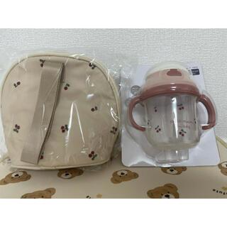 プティマイン(petit main)のプティマイン ストローマグ&マルチポーチ 2点セット さくらんぼ柄(水筒)