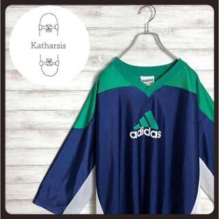アディダス(adidas)の【USA製】90s アディダス グリーン デカロゴ ゲームシャツ ホッケーシャツ(Tシャツ/カットソー(七分/長袖))