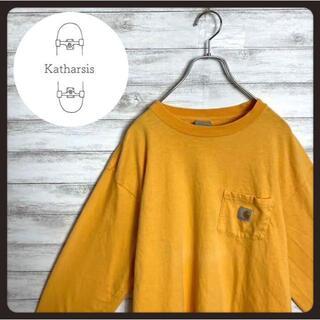 カーハート(carhartt)の【レアカラー】90s カーハート イエロー ワンポイント ビックサイズ ロンT(Tシャツ/カットソー(七分/長袖))