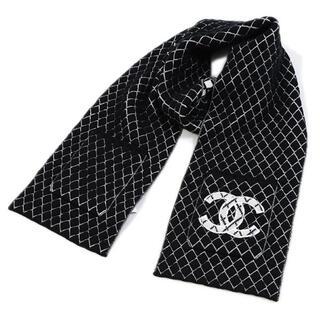 シャネル(CHANEL)のCHANEL マフラー ストール ポケット付き カシミア ブラック シャネル(マフラー/ショール)