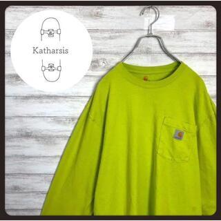 カーハート(carhartt)の【レアカラー】カーハート ワンポイント ネオンイエロー Tシャツ ロンT(Tシャツ/カットソー(七分/長袖))