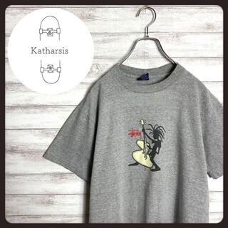 ステューシー(STUSSY)の【USA製】90s ステューシー シャドーマン プリントロゴ グレー Tシャツ(Tシャツ/カットソー(半袖/袖なし))