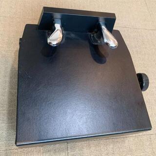ピアノ用補助ペダル ペダル付き踏み台 足台 昇降式 革張りブラック