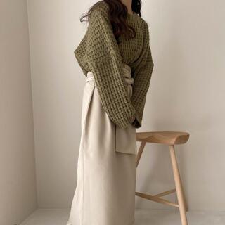 カスタネ(Kastane)のlawgy waffle knit khaki(ニット/セーター)