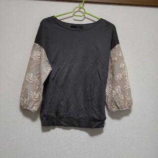 イング(INGNI)のmonogotoグレー七分袖シースルートップス(Tシャツ(長袖/七分))