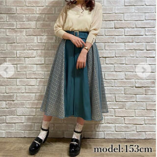 axes femme - axes スカート サイドチェックシフォンスカート