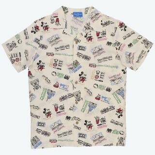 ディズニー(Disney)のディズニー パークアイコン パークシーン チョーク柄 アロハシャツ Mサイズ(シャツ/ブラウス(半袖/袖なし))