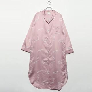 ジェラートピケ(gelato pique)のジェラートピケ gelato pique ハートロゴ柄サテンドレス (ピンク)(パジャマ)