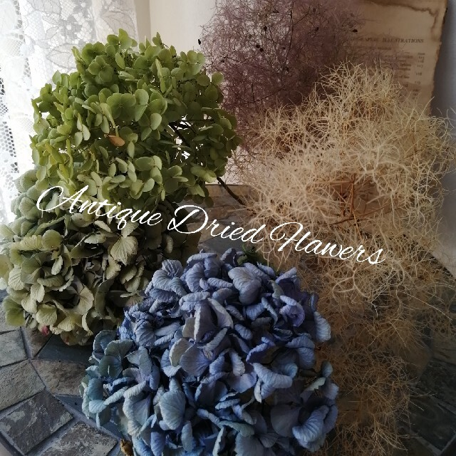 sarry様専用 手作りのかご付スモークツリーのドライフラワー&英字ペーパー ハンドメイドのフラワー/ガーデン(ドライフラワー)の商品写真