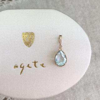 agete - agete  K10  アクアマリン&ダイヤ チャーム