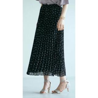 モミレ丈 フラワーブラック プリーツスカート