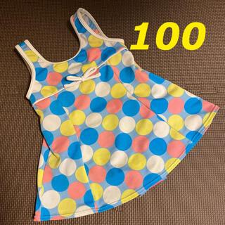 ニシマツヤ(西松屋)の女児用水着 ドット柄 水玉模様 100 (水着)