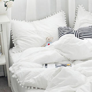 フランフラン(Francfranc)のポンポン付き枕カバー(シーツ/カバー)