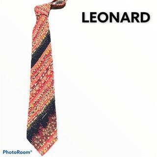 レオナール(LEONARD)のLEONARD レオナール ネクタイ 花柄 ネイビー レッド(ネクタイ)