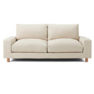 MUJI (無印良品) - 麻綿平織ソファ本体ワイドアーム・ダウン用・たっぷり用カバー/生成2.5シーター用