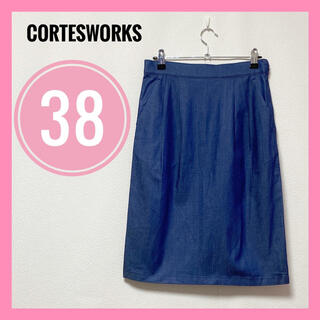 コルテスワークス(CORTES WORKS)のコルテスワークス✨スカート タイトスカート デニム ジーパン生地 38 M(ひざ丈スカート)