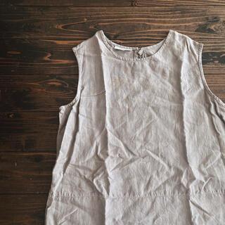 サンタモニカ(Santa Monica)のused リネンノースリーブトップス(シャツ/ブラウス(半袖/袖なし))