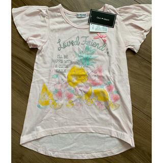 【新品】フルーツ柄 袖フリル Tシャツ ピンク(Tシャツ/カットソー)