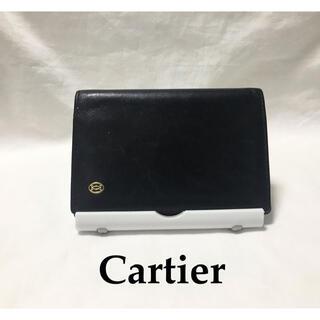 カルティエ(Cartier)のCartier カルティエ 古着 カードケース パスケース 革 ブラック(名刺入れ/定期入れ)