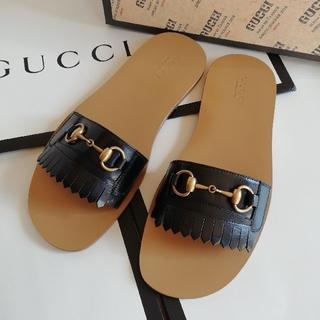 グッチ(Gucci)の正規店購入 グッチ ホースビットレザー サンダル 新品、箱付き(サンダル)