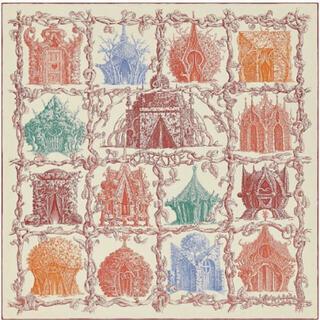 エルメス(Hermes)のHERMES カレジュアン140 カシミアシルク さまざまな小屋 新品(ストール/パシュミナ)