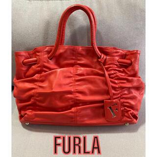 フルラ(Furla)の【極美品】FURLA フルラ トートバッグ ハンドバッグ レッド ロゴチャーム(トートバッグ)