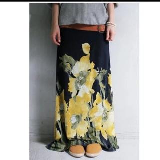 antiqua - アンティカ 花柄 リブロングスカート