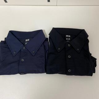 ユニクロ(UNIQLO)のユニクロ ポロシャツ 2点セット 紺色 黒 うっすらストライプ サラサラL 半袖(ポロシャツ)