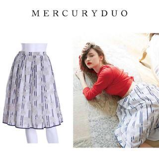 マーキュリーデュオ(MERCURYDUO)のMERCURYDUO 新品未使用ストライプ花柄スカート(ひざ丈スカート)