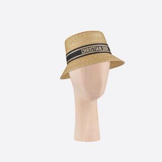 クリスチャンディオール(Christian Dior)の【値下げ中】DIORRESORT ストロー ハット ブルーリボン(麦わら帽子/ストローハット)