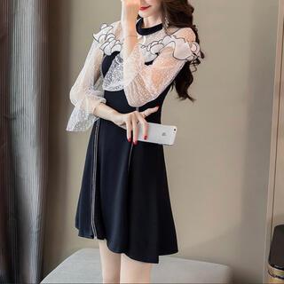 dholic - フリルシースルーワンピース ドレス 黒 ブラック フリル