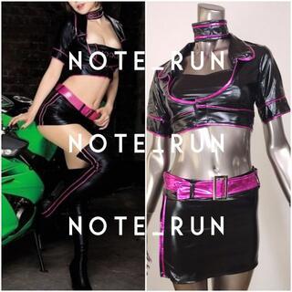 【tmo】ロゴなし コスチューム RQ レースクイーン 衣装 黒・ピンク(衣装一式)