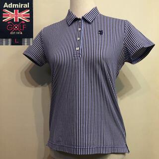 アドミラル(Admiral)のアドミラルゴルフ ポロシャツ 日本製 レディース ブルー ストライプ Lサイズ(ウエア)