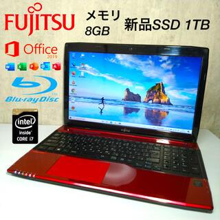 富士通 - 富士通ノートパソコンi7 新品SSD1TB ブルーレイ office2019