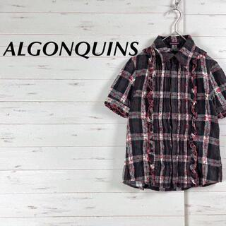 アルゴンキン(ALGONQUINS)のALGONQUINS アルゴンキン ♡ チェック 花柄 綿 シャツ ブラウス(シャツ/ブラウス(半袖/袖なし))